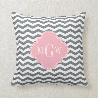 Charcoal Thin Chevron Pink Quatrefoil 3 Monogram Throw Pillow