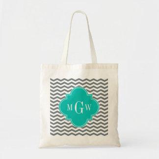 Charcoal Thin Chevron Teal Quatrefoil 3 Monogram Budget Tote Bag