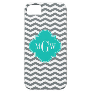 Charcoal Thin Chevron Teal Quatrefoil 3 Monogram iPhone 5 Covers