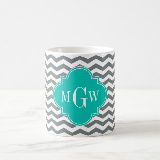 Charcoal Thin Chevron Teal Quatrefoil 3 Monogram Coffee Mugs