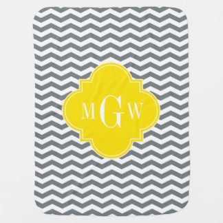 Charcoal Thin Chevron Yellow Quatrefoil 3 Monogram Baby Blanket