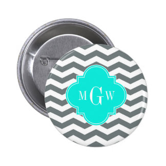 Charcoal Tn Chevron Brt Aqua Quatrefoil 3 Monogram Button
