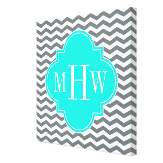 Charcoal Tn Chevron Brt Aqua Quatrefoil 3 Monogram Canvas Print