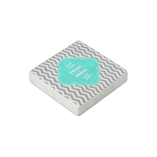 Charcoal Tn Chevron Brt Aqua Quatrefoil 3 Monogram Stone Magnet