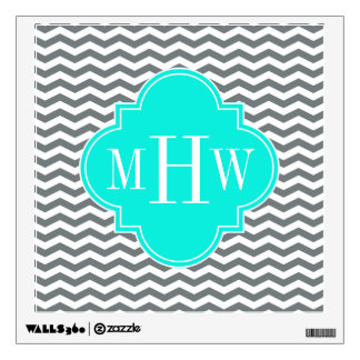 Charcoal Tn Chevron Brt Aqua Quatrefoil 3 Monogram Wall Decal