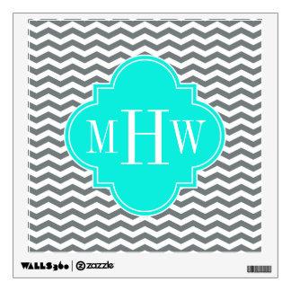 Charcoal Tn Chevron Brt Aqua Quatrefoil 3 Monogram Wall Sticker