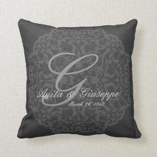 Charcoal Victorian design Wedding Keepsake pillow