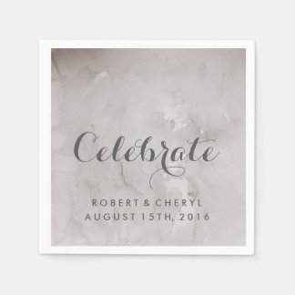 Charcoal Watercolor Celebrate Wedding Napkins