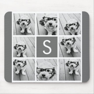 Charcoal White 8 Photo Collage Custom Monogram Mouse Pad
