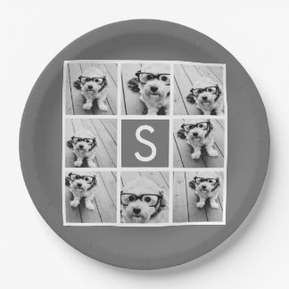 Charcoal White 8 Photo Collage Custom Monogram Paper Plate