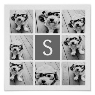 Charcoal White 8 Photo Collage Custom Monogram Poster