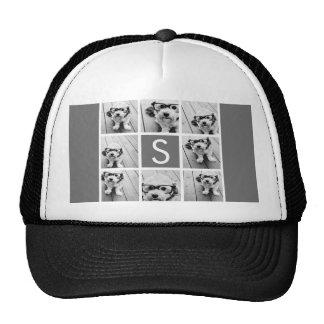 Charcoal White 8 Photo Collage Custom Monogram Trucker Hat