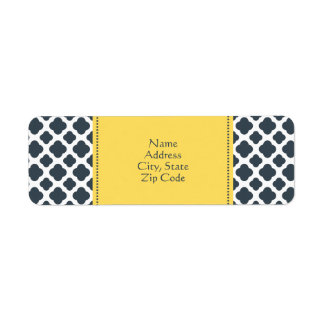 Charcoal, White and Yellow Quatrefoil Pattern Label