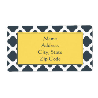 Charcoal, White and Yellow Quatrefoil Pattern Labels