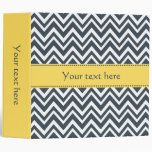 Charcoal, White and Yellow Zigzag Pattern 3 Ring Binders