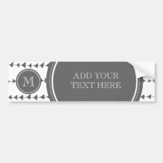 Charcoal White Aztec Arrows Monogram Bumper Sticker