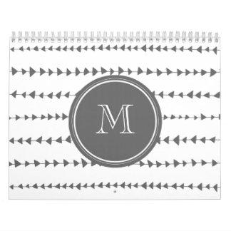 Charcoal White Aztec Arrows Monogram Calendar
