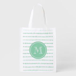 charcoal White Aztec Arrows Monogram Grocery Bag