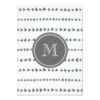 "Charcoal White Aztec Arrows Monogram 4.5"" X 6.25"" Invitation Card"