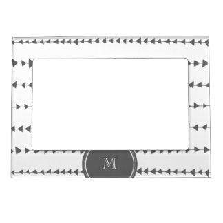 Charcoal White Aztec Arrows Monogram Magnetic Photo Frame