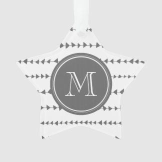 Charcoal White Aztec Arrows Monogram Ornament