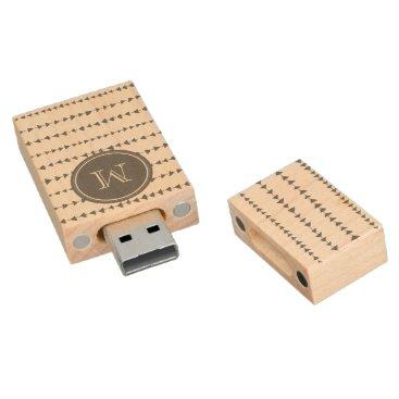 Aztec Themed Charcoal White Aztec Arrows Monogram Wood USB Flash Drive