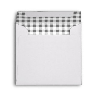 Charcoal White Gingham Pattern Envelope