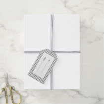 Charcoal White Gingham Pattern Gift Tags