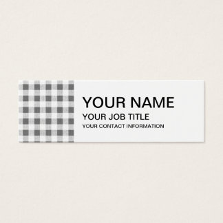 Charcoal White Gingham Pattern Mini Business Card