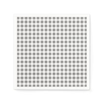 Charcoal White Gingham Pattern Paper Napkin