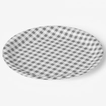 Charcoal White Gingham Pattern Paper Plate