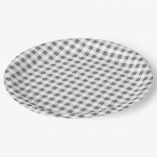 Charcoal White Gingham Pattern Paper Plate  sc 1 st  Zazzle & Gray Checkered Plates | Zazzle