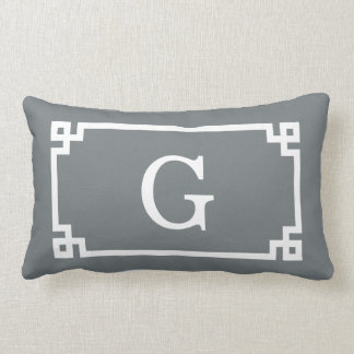 Charcoal White Greek Key Frame #2 Initial Monogram Lumbar Pillow