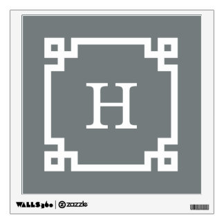 Charcoal White Greek Key Frame #2 Initial Monogram Wall Sticker