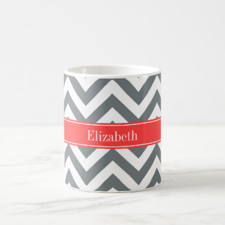 Charcoal White LG Chevron Coral Red Name Monogram Coffee Mug