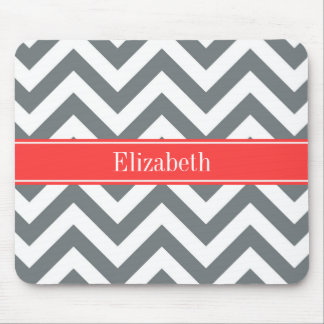 Charcoal White LG Chevron Coral Red Name Monogram Mouse Pad
