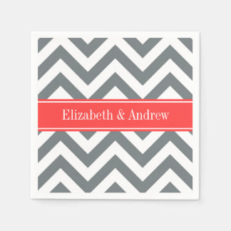 Charcoal White LG Chevron Coral Red Name Monogram Paper Napkin