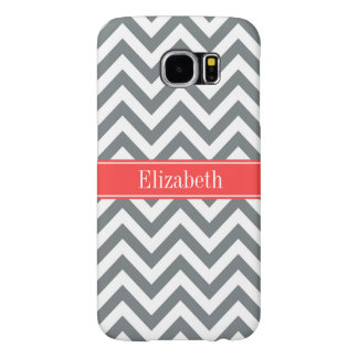 Charcoal White LG Chevron Coral Red Name Monogram Samsung Galaxy S6 Case