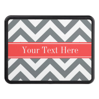 Charcoal White LG Chevron Coral Red Name Monogram Tow Hitch Cover