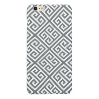 Charcoal White Med Greek Key Diag T Pattern #1 Glossy iPhone 6 Plus Case