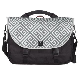 Charcoal White Med Greek Key Diag T Pattern #1 Commuter Bag