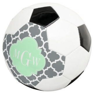 Charcoal White Moroccan #5 Mint 3 Initial Monogram Soccer Ball