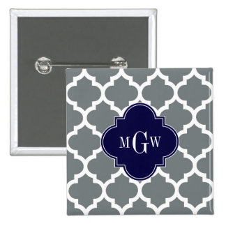 Charcoal White Moroccan #5 Navy 3 Initial Monogram 2 Inch Square Button