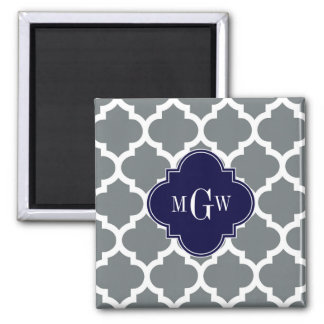 Charcoal White Moroccan #5 Navy 3 Initial Monogram 2 Inch Square Magnet