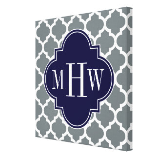 Charcoal White Moroccan #5 Navy 3 Initial Monogram Canvas Print
