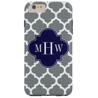 Charcoal White Moroccan #5 Navy 3 Initial Monogram Tough iPhone 6 Plus Case