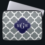 "Charcoal White Moroccan #5 Navy 3 Initial Monogram Computer Sleeve<br><div class=""desc"">Charcoal and White Moroccan Quatrefoil Trellis Pattern #5, Navy Blue Quatrefoil 3 Initial Monogram Customize this with your 3 initial monogram, name or other text. You can also change the font, adjust the font size and font color, move the text to adjust letter spacing, etc. Please note that this is...</div>"