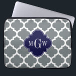 """Charcoal White Moroccan #5 Navy 3 Initial Monogram Computer Sleeve<br><div class=""""desc"""">Charcoal and White Moroccan Quatrefoil Trellis Pattern #5, Navy Blue Quatrefoil 3 Initial Monogram Customize this with your 3 initial monogram, name or other text. You can also change the font, adjust the font size and font color, move the text to adjust letter spacing, etc. Please note that this is...</div>"""