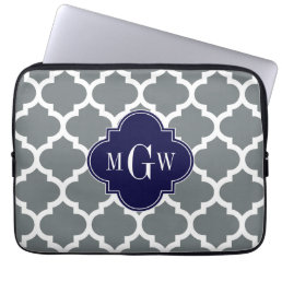 Charcoal White Moroccan #5 Navy 3 Initial Monogram Computer Sleeve