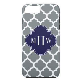 Charcoal White Moroccan #5 Navy 3 Initial Monogram iPhone 8 Plus/7 Plus Case